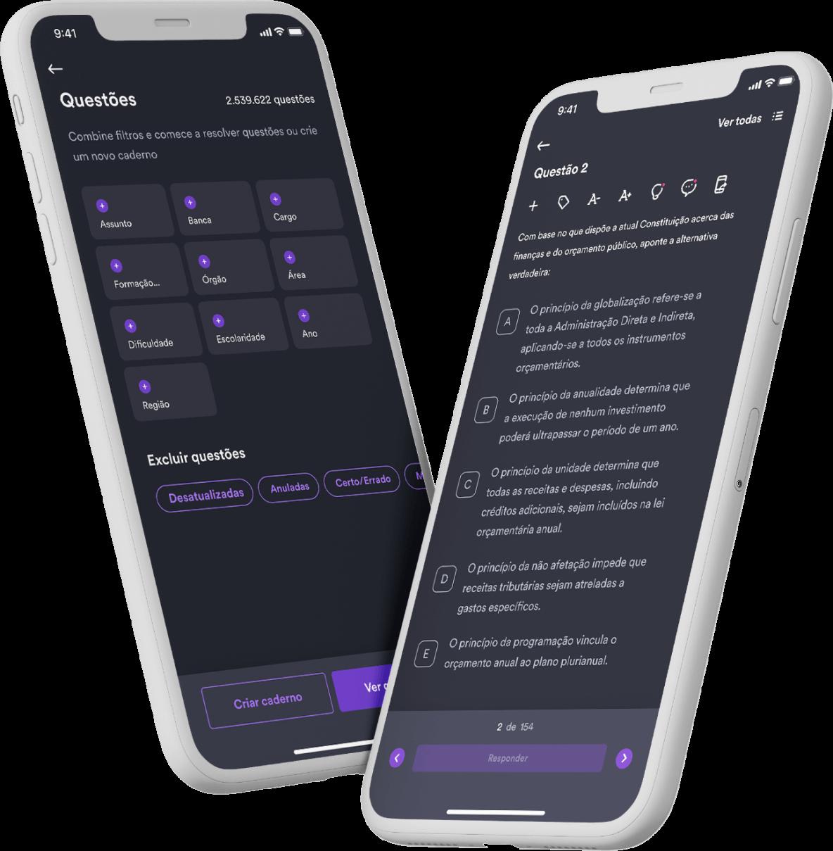 Smartphone com o aplicativo Estratégia aberto